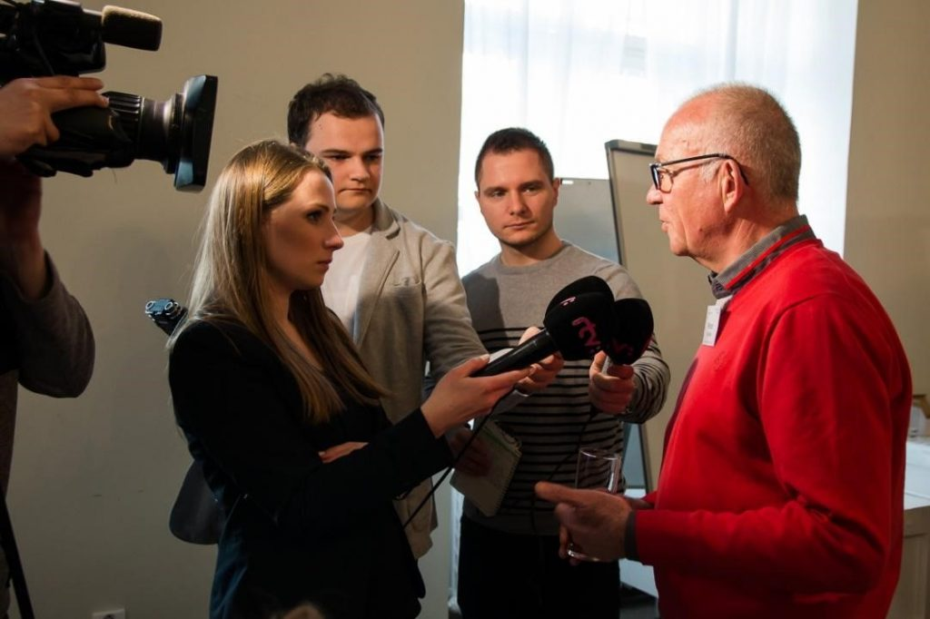 The National Cycling Coordinator giving an interview to the Slovak Radio and Television (RTVS).